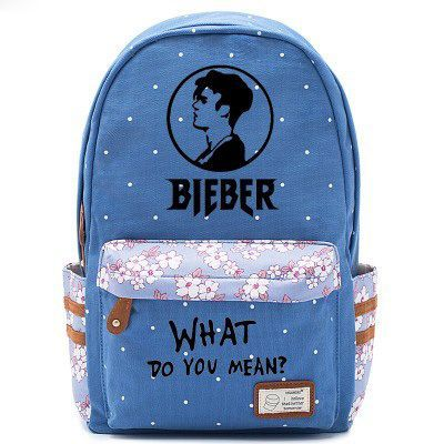 Justin Bieber Avatar Logo Blue Backpack Schoolbag For Kids Girls Fans Bags 70b5d14e7bcaf