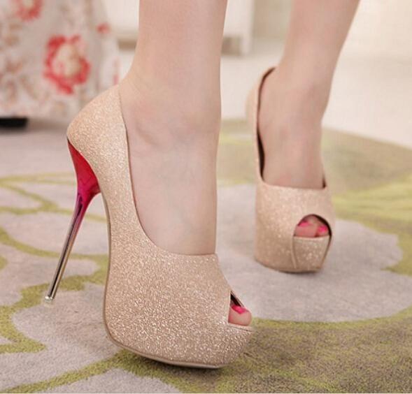 Tamanho das mulheres Ultra Sexy de salto Alto 14 cm Bombas Senhoras Plataforma de Espessura Sapatos de casamento Mulher Sapatos de Pano de Lantejoulas sapatos de Salto Alto Do Dedo Do Pé Aberto 59