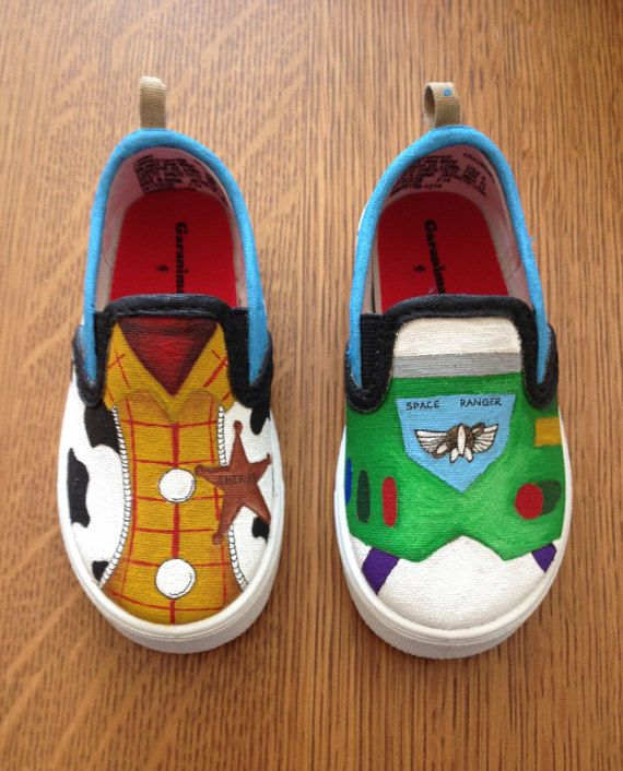 Eli would LOVE these! I wonder where we can get plain white, little shoes...   /// Hey, I found this really awesome Etsy listing at https://www.etsy.com/listing/246709573/toy-story-shoes