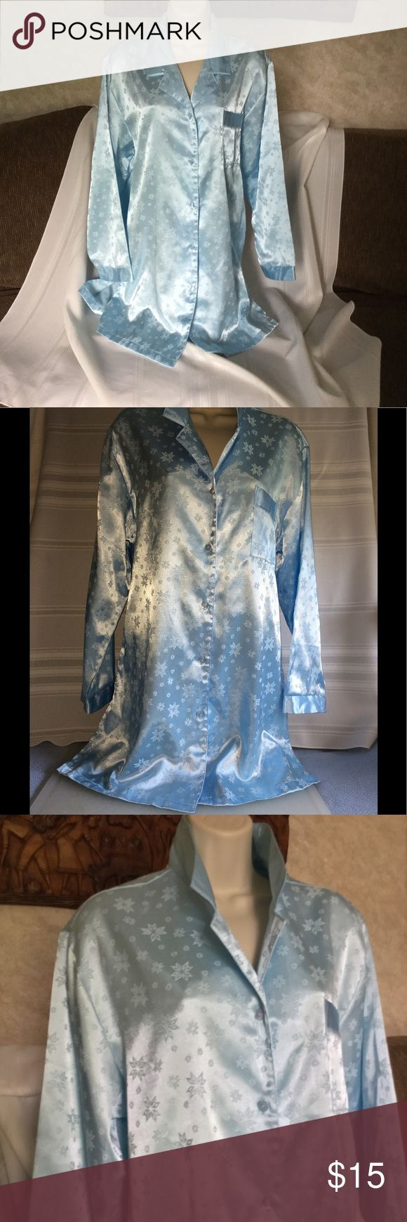 """Blue Satin Sleep Shirt by Kathryn Sz M Blue Satin Sleep shirt by Kathryn size M. Bust is 21"""" across from arm to arm. Length is 33 inches from shoulder to hem. 83% polyester and 17% cotton.  New condition. Kathryn Intimates & Sleepwear"""