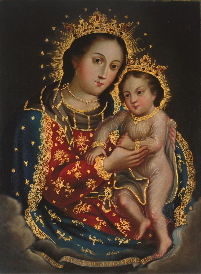 Title: Our Lady Refuge of Sinners (Nuestra Señora del Refugio de los Pecadores) Artist: Unidentified artist Date: early 18th century Location: de Young Century: 18th Century AD Media: Oil On Canvas Dimensions: 33 3/8 x 24 7/8 in. (84.8 x 63.2 cm) Object Type: Painting Country: Mexico