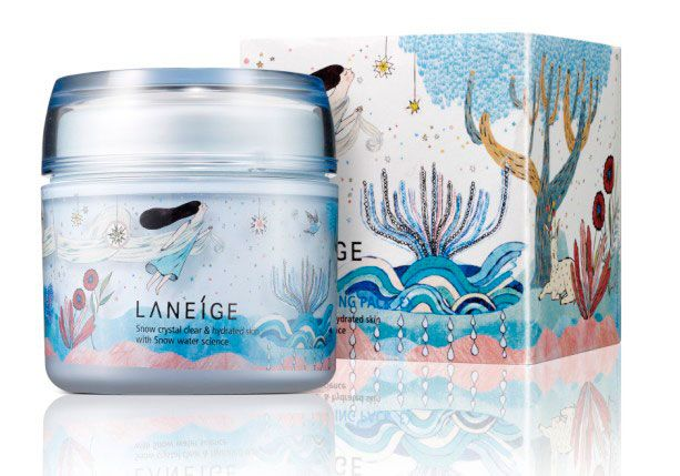 Yeji Yun created this design for Laneige in 2011. The tag line on the product reads 'Snow crystal clear & hydrated skin, with snow water Science.' I feel that the design created relates well to this, with a clear theme of water and comfort. The organic hand drawn feel to the design, sends a message to the onlooker that the company uses organic natural ingredients. Something many find important with skin care products, making it an effective way to market the product.