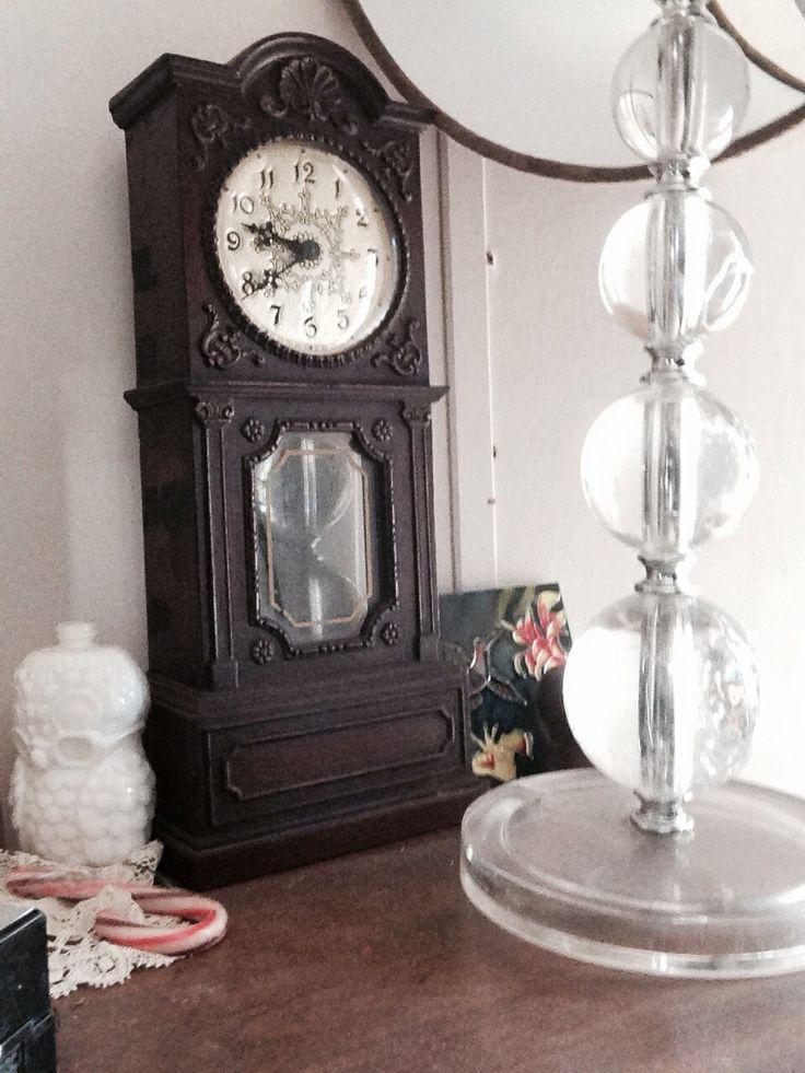 Mini grandfather clock and glass ball lamp Grandfather