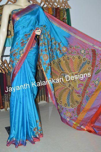 Uppada silk with pen kalamkari patch work saree JKD4179