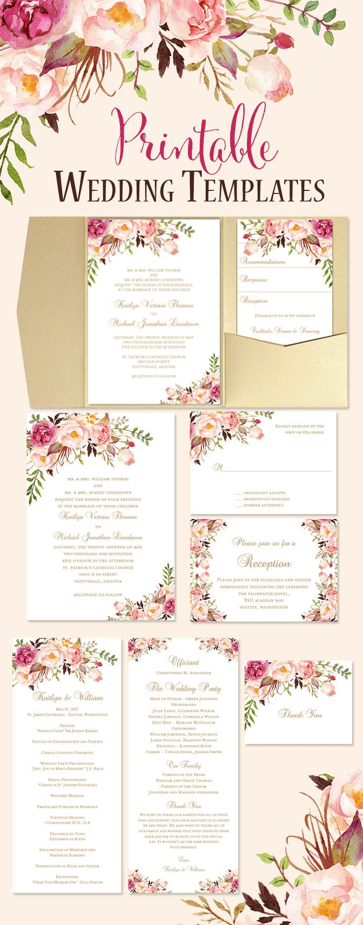 Stunning watercolor floral wedding stationery you can print. 17 DIY templates from invitations through to reception seating chart posters. All templates are instant downloads and you can start making your own wedding invites today.
