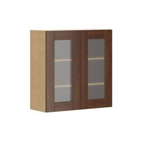 Eurostyle 30x30x12 5 in lyon wall cabinet in maple melamine and glass door in medium brown - Glass kitchen cabinet doors home depot ...