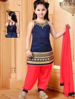 Party Wear Blue Art Silk Lace Border Work Kids Wear Salwar Kameez