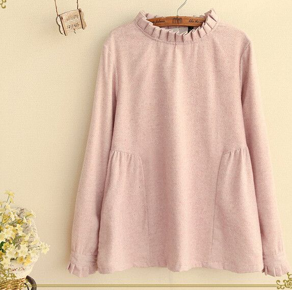 long sleeve ruffled stand collar Back button shirt blouse mori girl