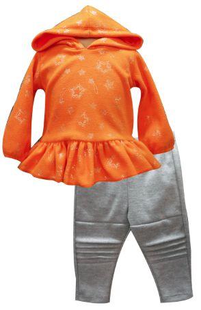 Sudadera con capucha y olanes y leggings con alforzas. Tallas 3, 6, 12 y 18 meses.
