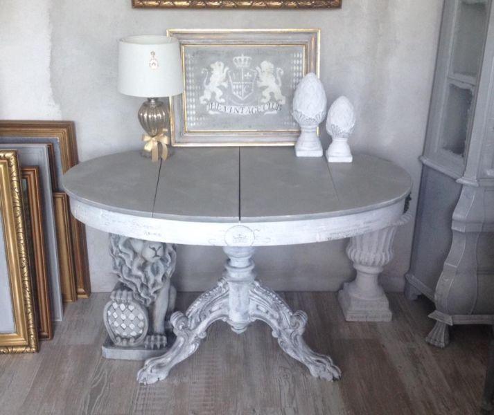 Antik Vintage Fassmalerei Tisch Esstisch Harvestehude Lwentatze Dreier Fuss Grau Weiss Shabbychic Shabby Pinienzapfen Lwe