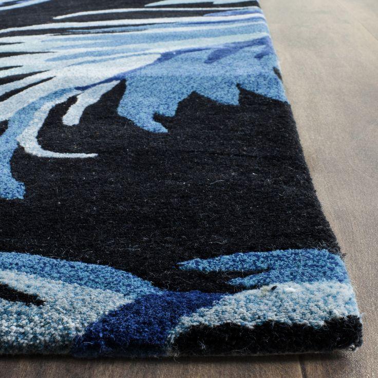 Best Handmade Tufted Wool Black Area Rug Area Rugs Blue Area 400 x 300
