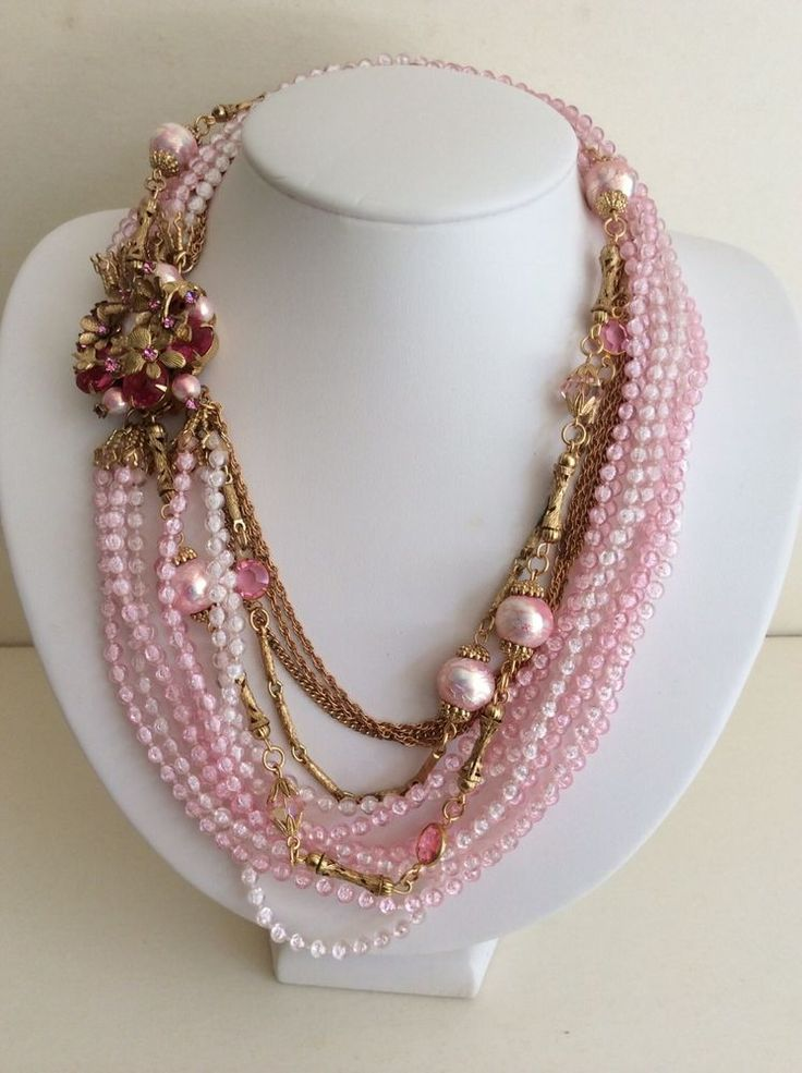 """Vintage Attributed to M.Haskell Pink Necklace with beautiful Flower Clasp, 18""""L"""