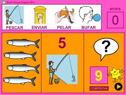 PROBLEMANTES 3: Activitat de l'Emilia Alcaraz Delgado on  resoldre problemes visuals de suma o resta (quantitats fins el 10), amb un contingut textual mínim, per facilitar la seva resolució.