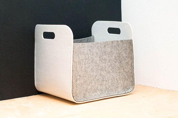 White and Gray  Felt Storage Bin /  Household Storage / Modern Storage Basket / Color  Storage / Felt box