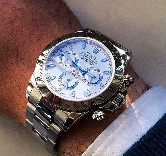 Love this white face Rolex Daytona with blue dials
