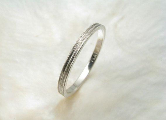 delicate 1.5mm platinum wedding ring with milgrain by RavensRefuge