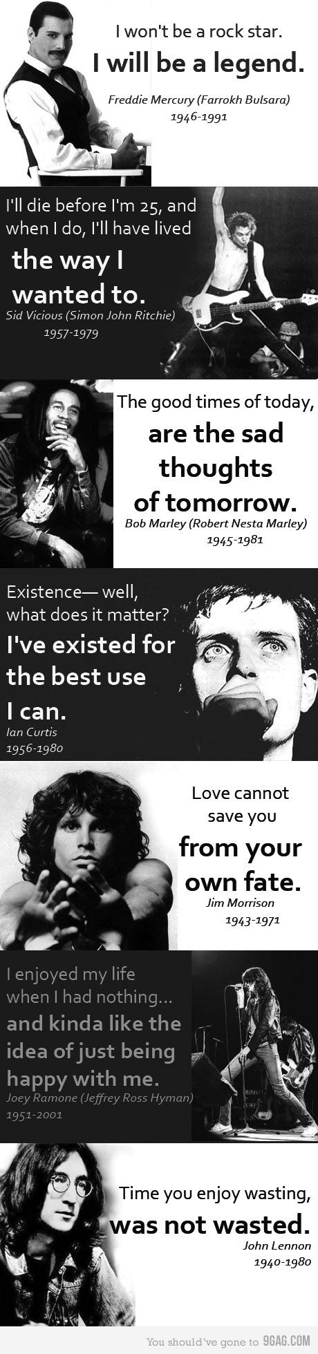 Quotes from the famous who were gone too soon...