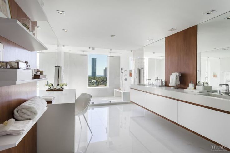 Large contemporary bathroom with makeup table and double vanity