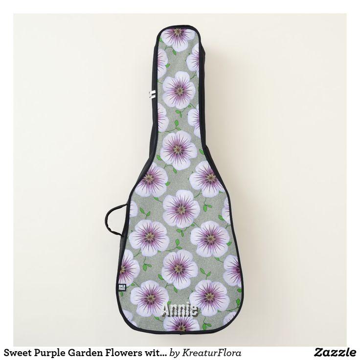 Sweet Purple Garden Flowers with Custom Name