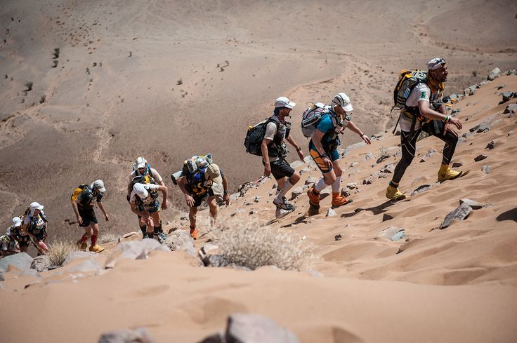 30e Sultan MARATHON DES SABLES: April 3 -13, 2015. A six-day 154-mile (240K) trek through the Sahara in southern Morocco. April temperatures reach well over 100 degrees. This foot race is open to runners and walkers, with several stages, free style. Participants must carry their own backpack containing food, sleeping gear and other material.
