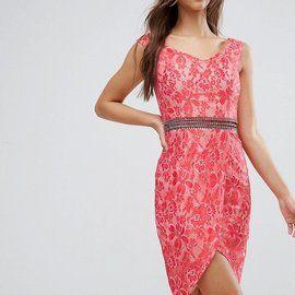 Little Mistress Lace Embellished Waist Bodycon Dress
