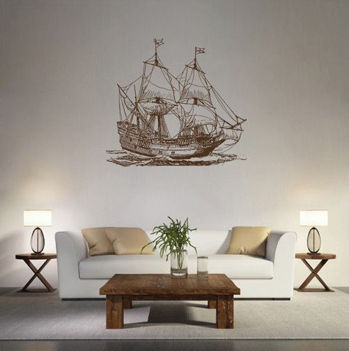 ik1617 Wall Decal Sticker barque frigate ship sea ocean bedroom living room