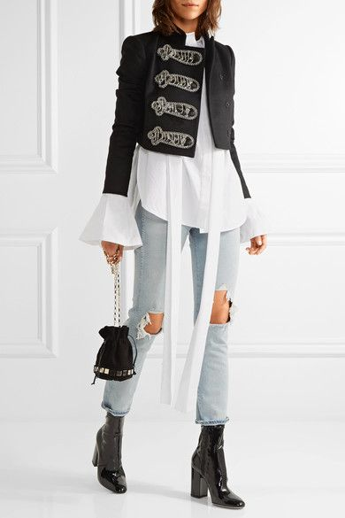 Alice Olivia - Josette Embellished Wool-blend Jacket - Black - US12