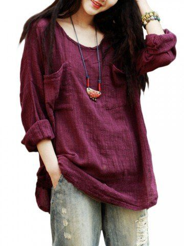 Vintage Women Pockets Loose Pure Color Cotton Linen Round Neck Blouse