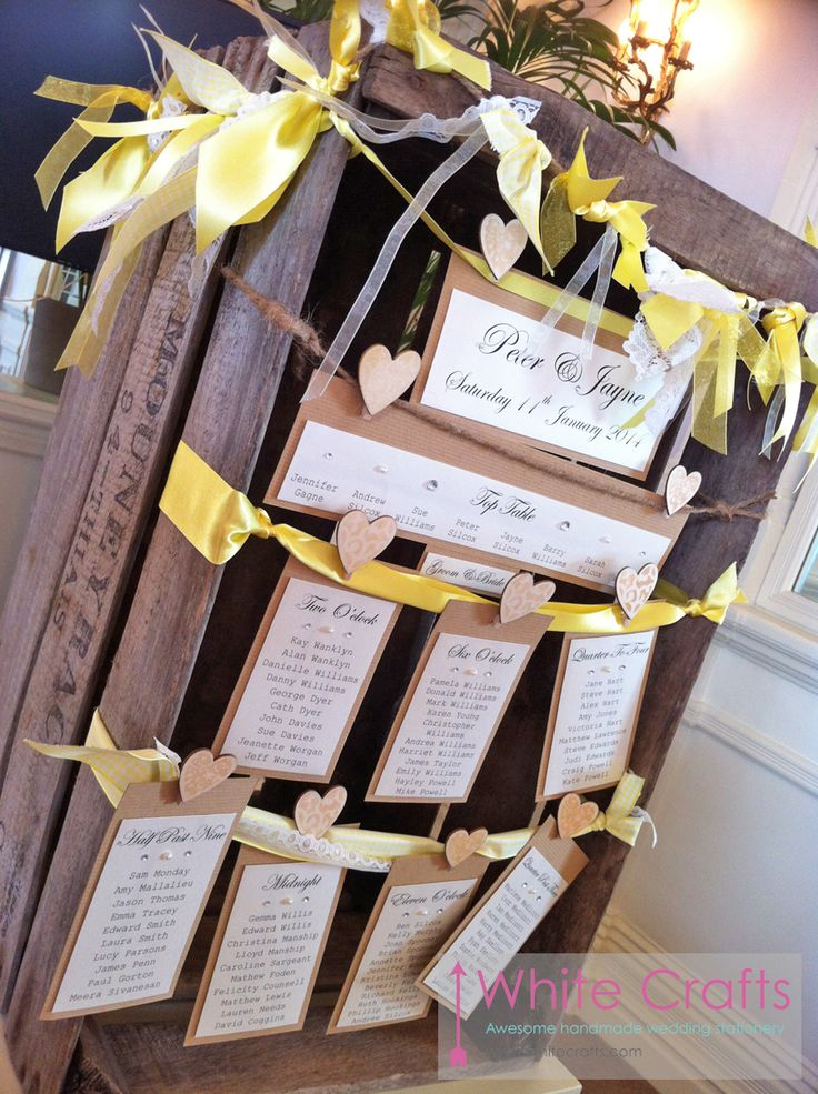 Rustic recycle crate wedding seating chart or table plan - find your seat www.whitecrafts.com #rusticwedding #crates #vintage #vintagewedding #lace #uiquewedding #differentwedding #cratewedding #tableplan #seatingchart #findyourseat #bunting #countrywedding #wood #naturalwedding #nature