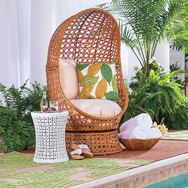 Improvements Bativa Resin Wicker Swivel Chair-Mojave ($150) ❤ liked on Polyvore featuring home, outdoors, patio furniture, outdoor chairs, bativa swivel accent chair, tropical style, swivel chair, patio swivel chair, patio accent chair and outdoor lounge chair