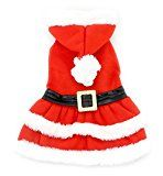 SMALLLEE_LUCKY_STORE Small Dog Clothes for Girls Boys Cat Dog Christmas Costume Hooded Fur Trim Dress Belt Decorated Winter, X-Small, Red