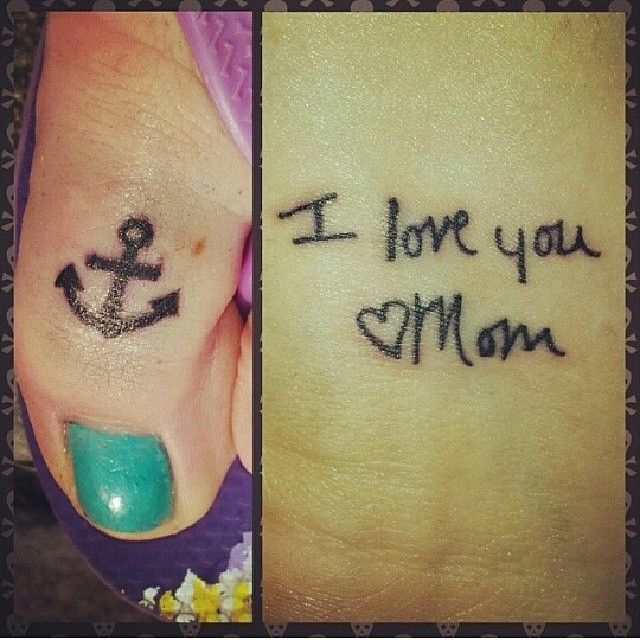 anchor and hand written tattoo