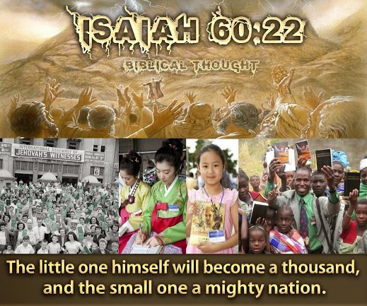 Sunday, September 7 The little one himself will become a thousand, and the small one a mighty nation.—Isa.60:22.http://wol.jw.org/en/wol/dt/r1/lp-e/2014/9/7 Stylianos Tzannis Biblical Thought