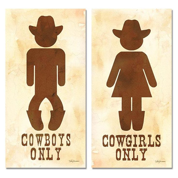 Cowboy Bathroom Signs | ... about Two Cowboy and Cowgirl His Hers Bathroom Sign Posters 8x16