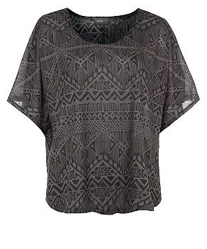 Grey (Grey) Apricot Grey Aztec Oversize Batwing T-Shirt | 297335604 | New Look