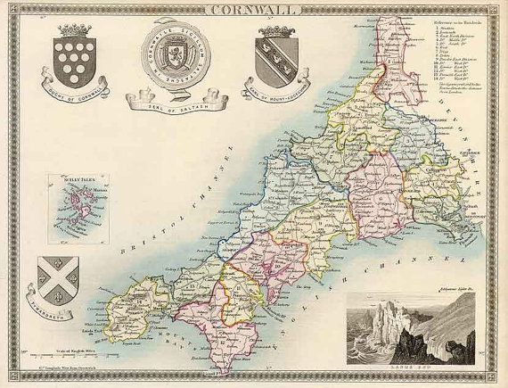 "CORNWALL (1837) | Thomas Moule: 'map with later part hand-colouring. This 1837 edition delineates the county subdivisions, called hundreds, and predates the railways. Originally engraved by an anonymous engraver and published in Thomas Moule's ""The English Counties In The Nineteenth Century"".'     ✫ღ⊰n"