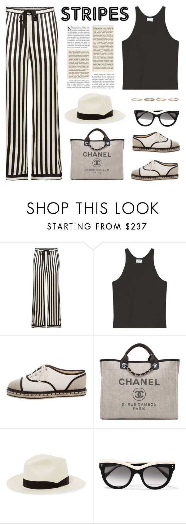 """Strong Stripes: Graphic Striped Pants"" by deepwinter ❤ liked on Polyvore featuring Morgan Lane, Acne Studios, Chanel, rag & bone, STELLA McCARTNEY, Pearls Before Swine and stripedpants"