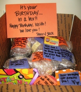 Birthday in a Box including Cake! Totes doing something like this for bro-ski this year from all the ladies in his life