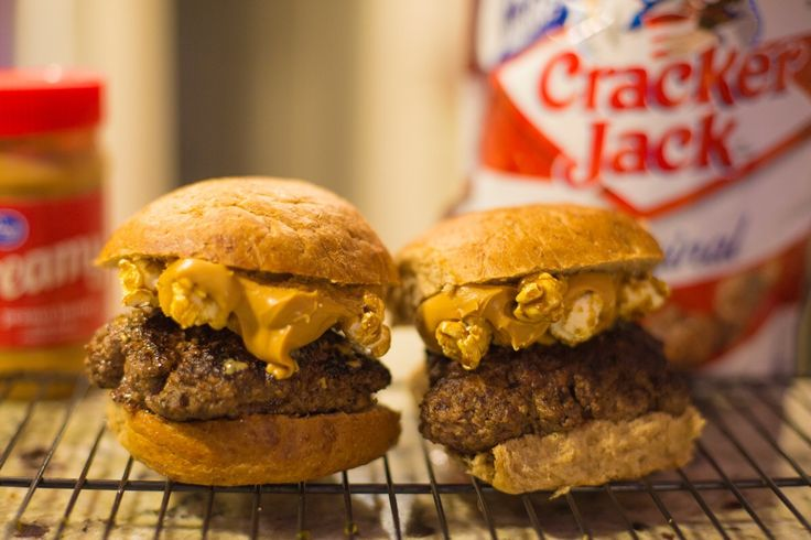 Take Me Out to the Burger - Peanut Butter and Crackerjacks over a Beef Burger [OC] [1200  800]