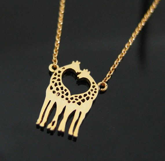 Two Giraffes in Love necklace, Giraffe Couple Necklace in Gold, Loving Giraffes, Animal Jewelry