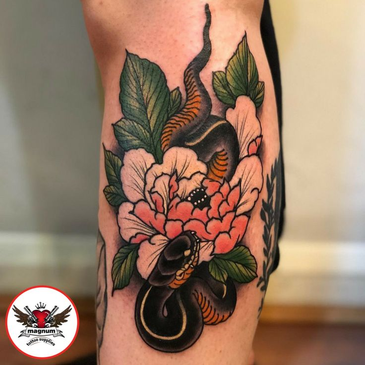 Snake and peony piece with #magnumtattoosupples by Niall Shannon