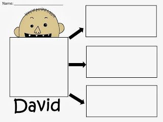 Free: No David by David Shannon Graphic Organizer.  Draw a picture of David and write 3 sentences or 3 things about him. Freebie For A Teacher From A Teacher! Enjoy! fairytalesandfictionby2.blogspot.com