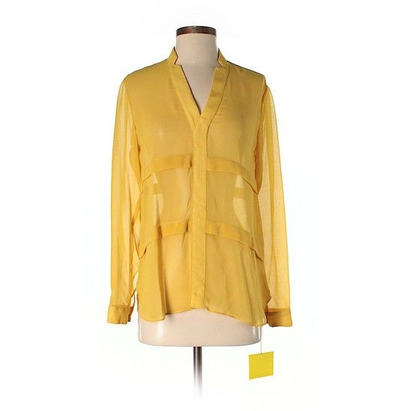 Aaron Ashe Long Sleeve Blouse ($61) ❤ liked on Polyvore featuring tops, blouses, dark yellow, long sleeve tops, long sleeve blouse, aaron ashe, yellow long sleeve top and yellow top