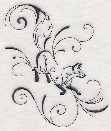 Inky Fox Running 5x6 Machine Embroidery Designs at Embroidery Library! -