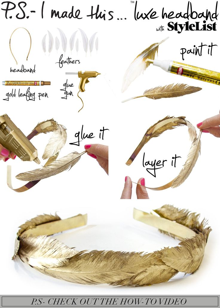 To create: Use a gold leafing pen to cover the entire feather. Repeat until you have enough feathers to cover the surface of your headband. Using a glue gun carefully adhere the feathers to your headband. Allow a few minutes for the glue to dry, and voilayoure fit for a fairytale!     Get down with DIY and a dope playlist CLICK HERE for the P.S.- I made thisPlaylist Curated by The Jane Doze