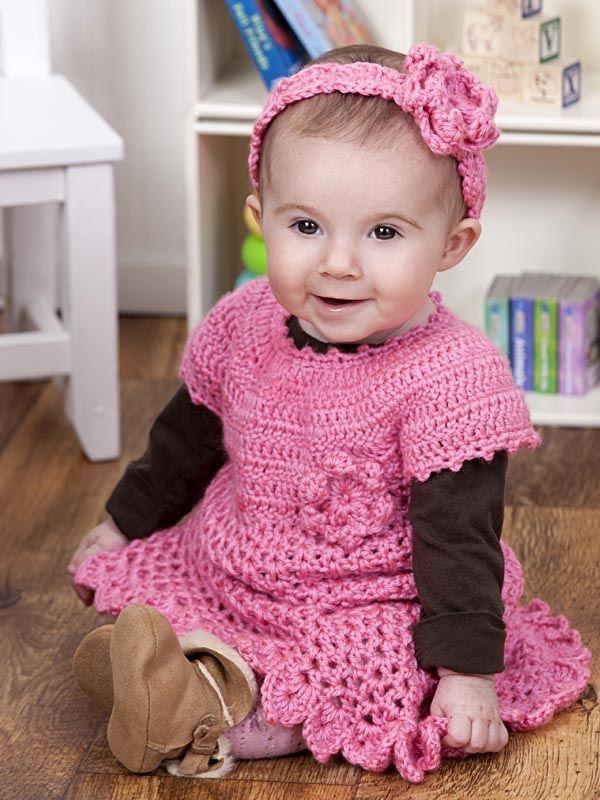 Sukienka i opaska niemowlęca, włóczka Soft Baby Steps https://www.kokardka.pl/product/5367/wloczka-soft-baby-steps-rozowy-2.html