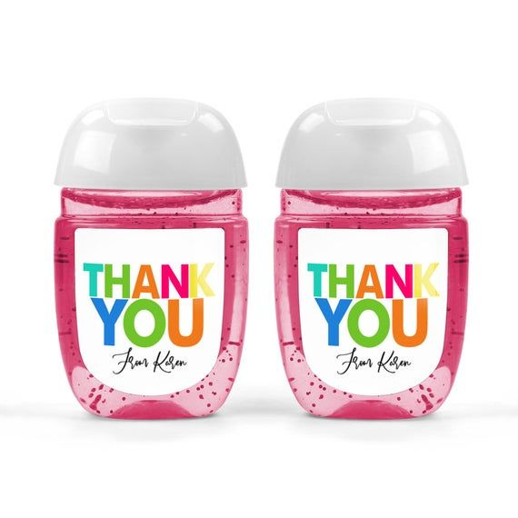 Colorful Thank You Hand Sanitizer Labels In 2020 Hand Sanitizer
