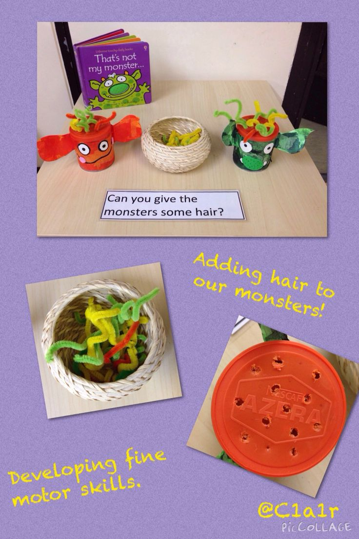 Developing fine motor skills - children to add hair to the monsters :0)