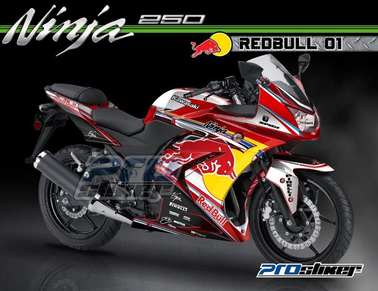 Modifikasi Ninja 250 Karbu Warna Merah Decal Modif REDBULL 01 Merah Full Body Prostiker