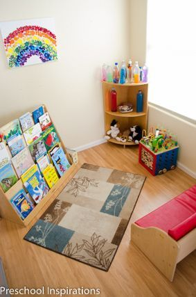 How to set up a preschool. Here is an in home preschool with learning centers. It's a bright, relaxing atmosphere with Montessori, Reggio, and traditional preschool elements.
